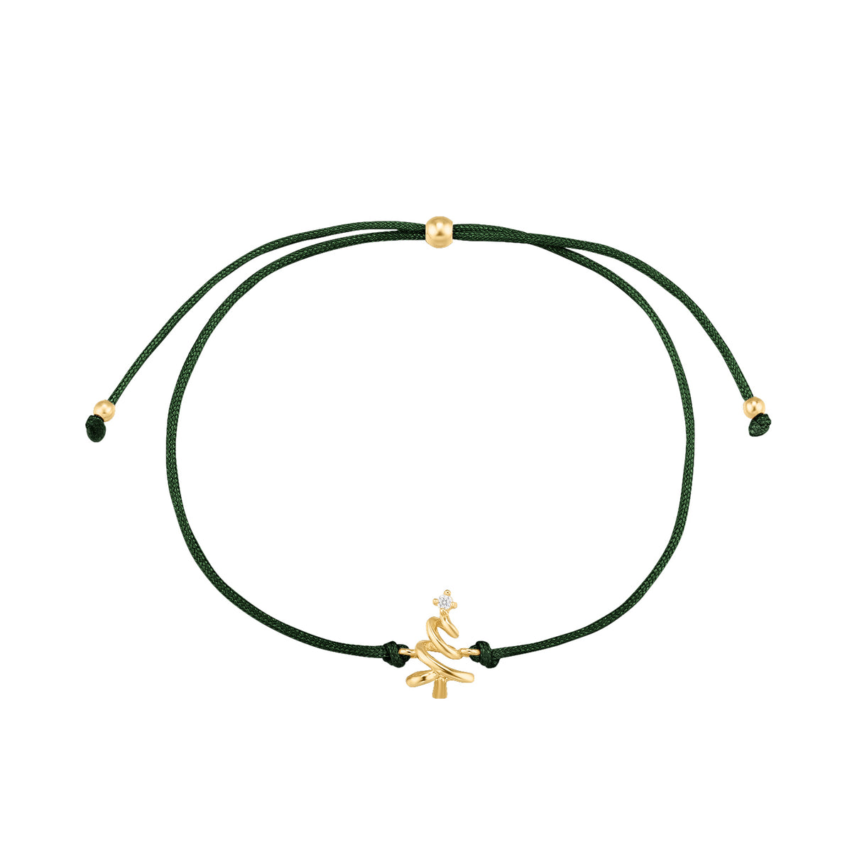 Christmas Selection | Xmas Tree Bracelet | White CZ | Dark Green Thread & 14K Gold Plated 925 Silver