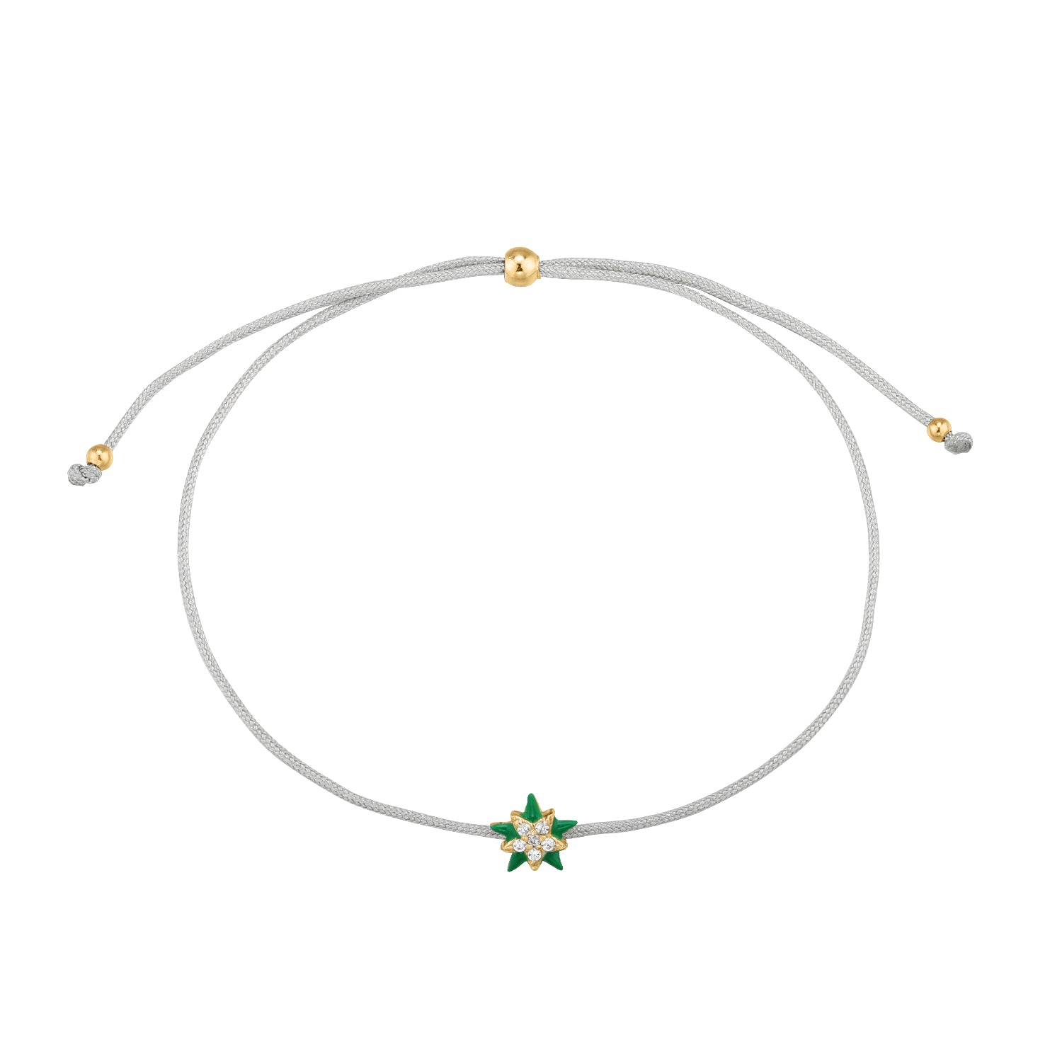 Christmas Selection | Xmas Star Bracelet | White CZ | Grey Beige Thread & 14K Gold Plated 925 Silver