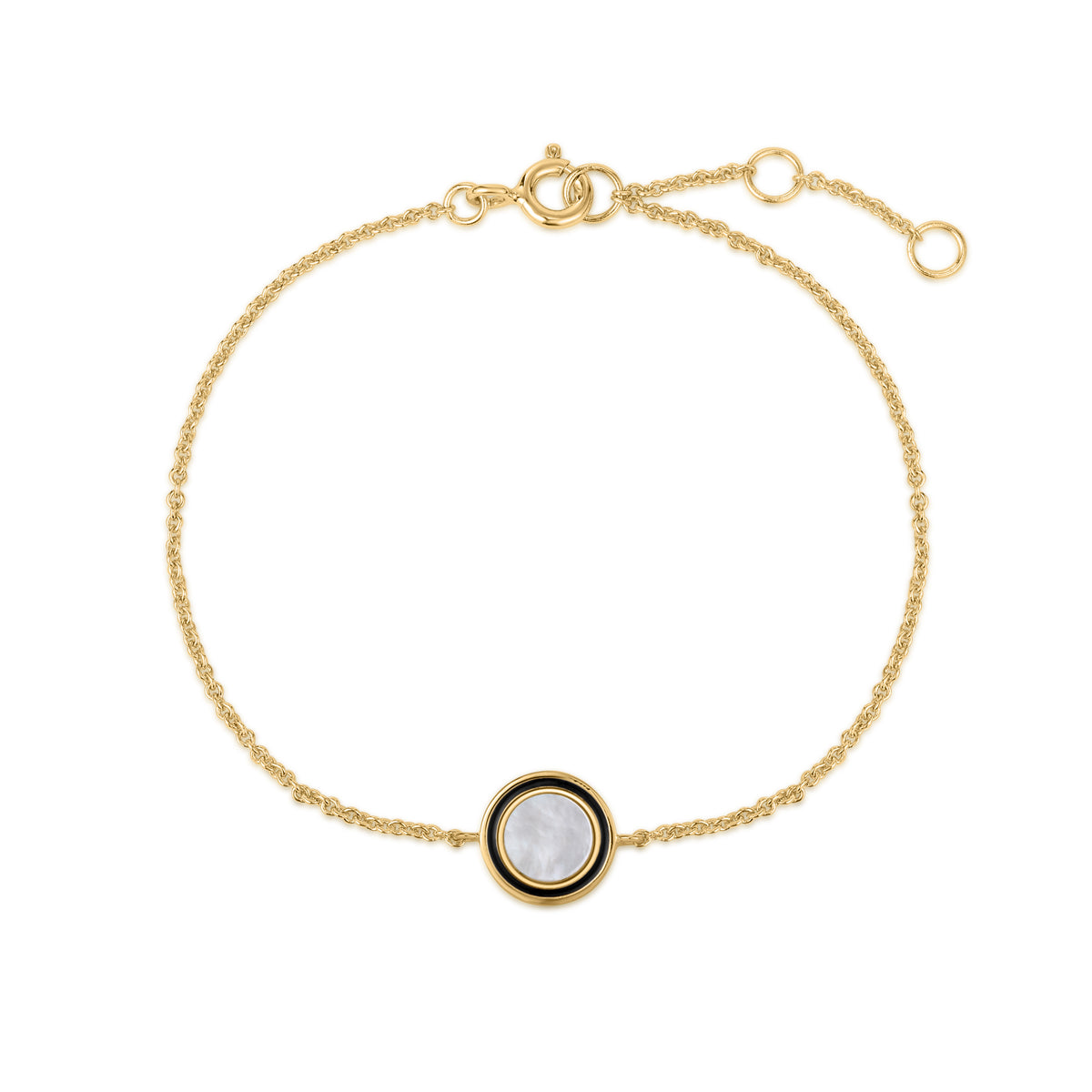 Cardea | Porcini Bracelet | 925 Silver | Black Enamel & Mother of Pearl | 14K Gold Plated