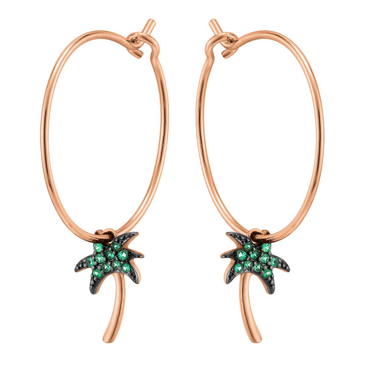 Carmenta | Ibiza Earrings | 925 Silver | Green CZ | Rose Gold & Black Rhodium Plated