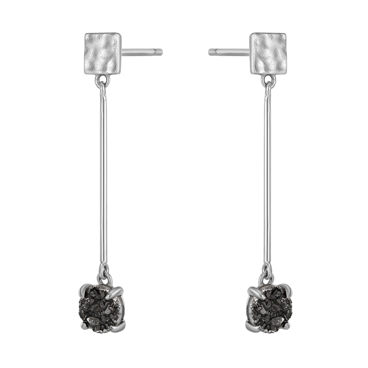 Fortuna| Iris Earrings 925 Silver | Grey Agate | White Rhodium Plated