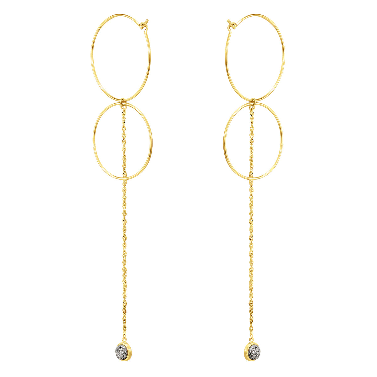 Fortuna| Moana Earrings | 925 Silver | Grey Agate | 14K Gold Plated