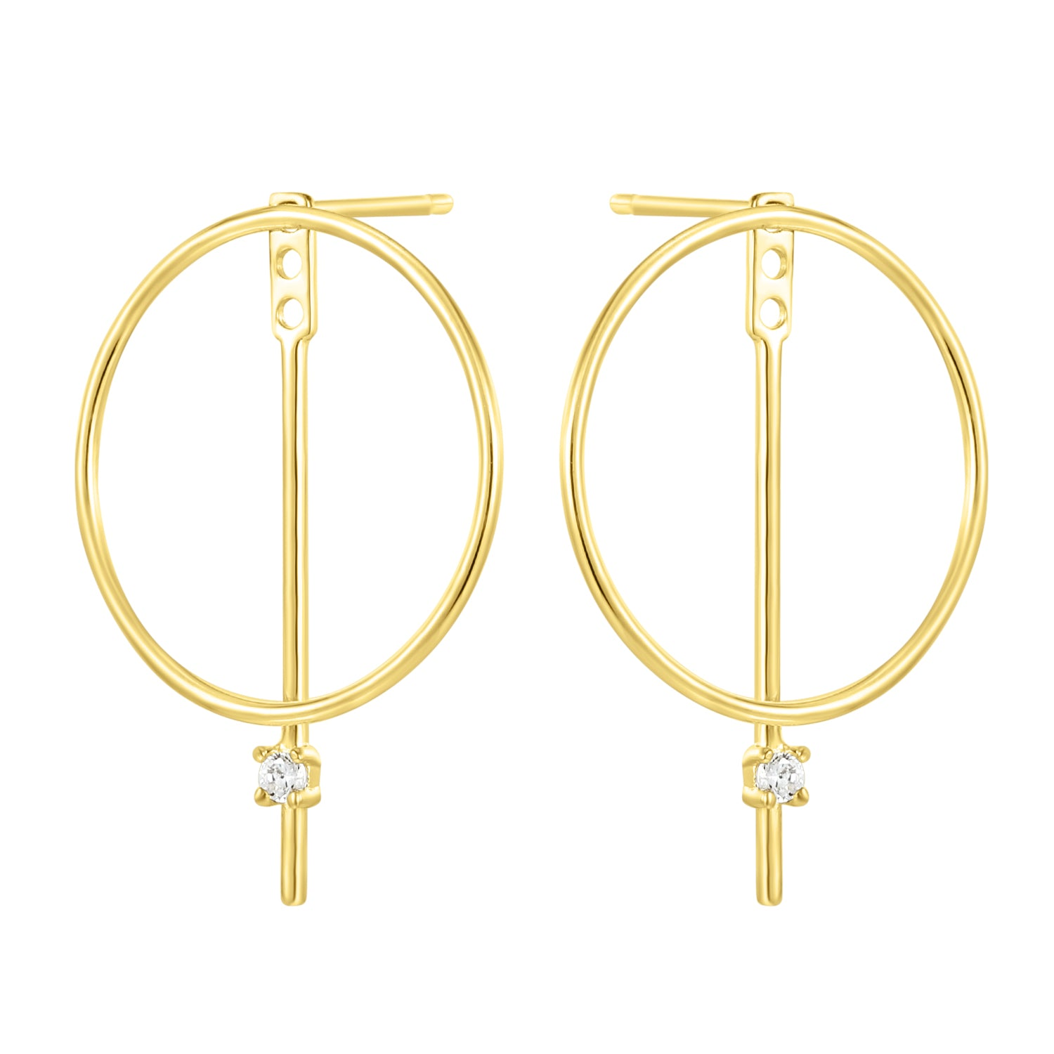 Fortuna| Helio Earrings | 925 Silver | White CZ | 14K Gold Plated