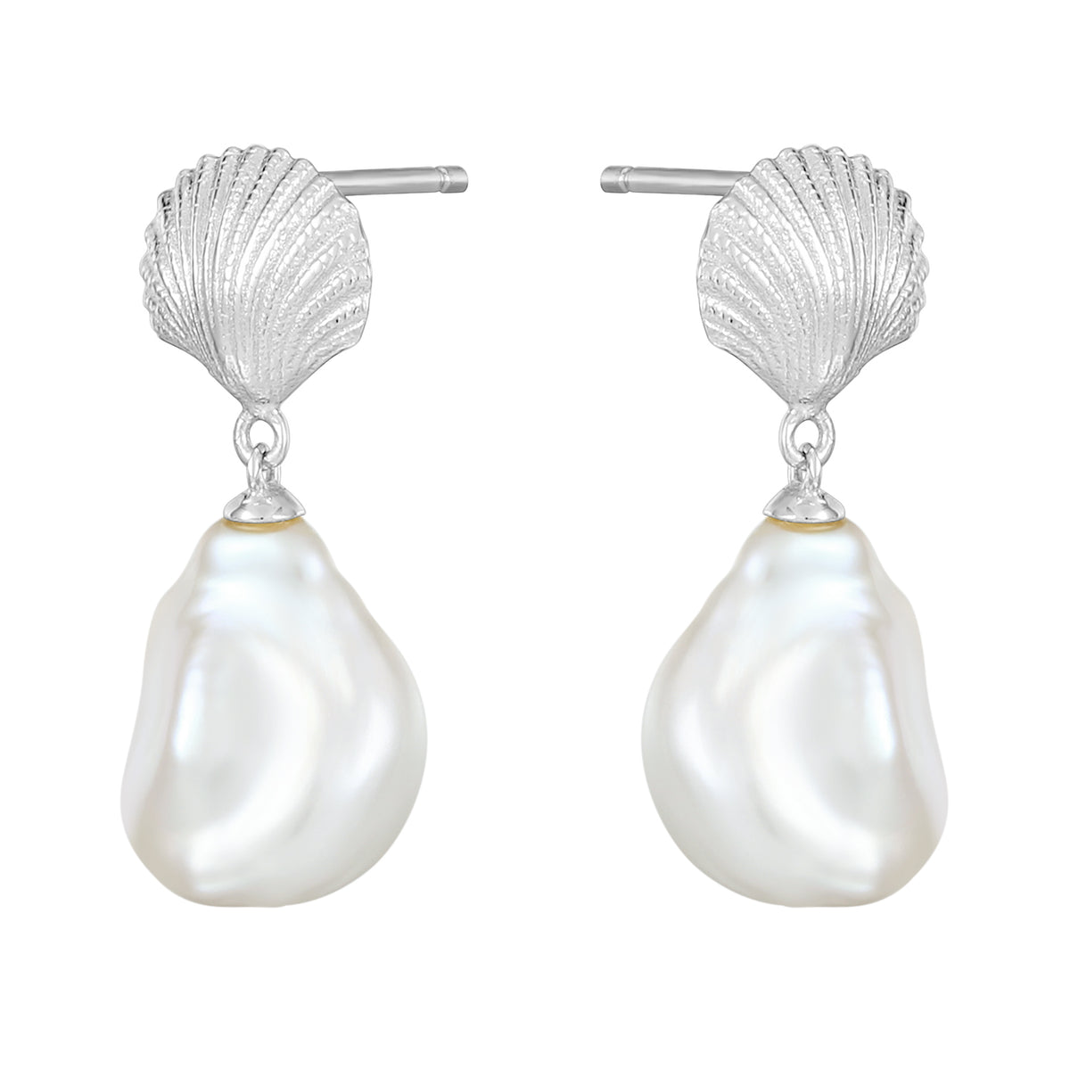 Carmenta | Seychelles Earrings | 925 Silver | Organic White Pearl | White Rhodium Plated