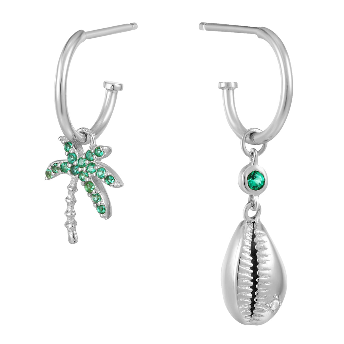 Carmenta | Hawai Earrings | 925 Silver | Green CZ | White Rhodium Plated