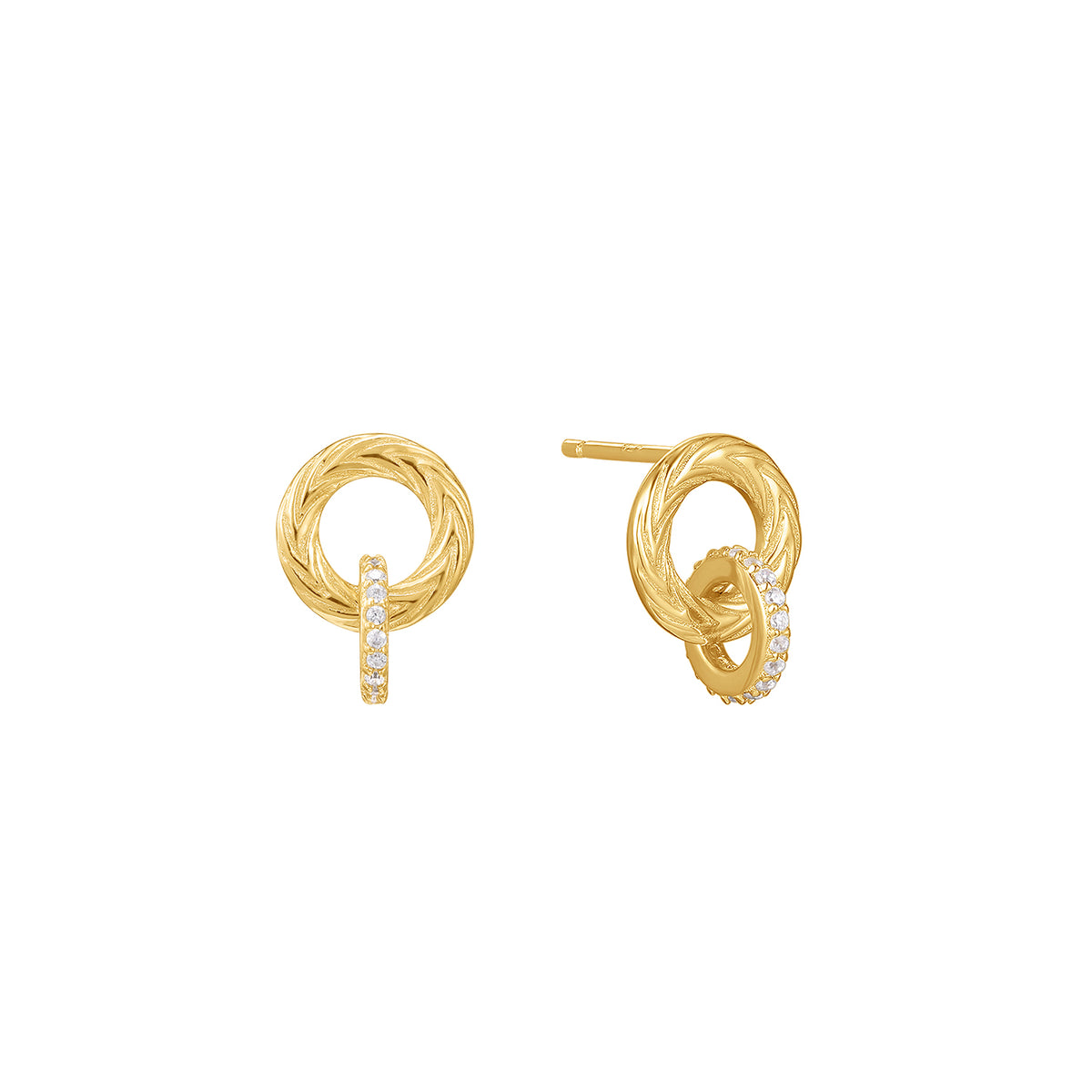 Egeria | Plumeria Earrings | White CZ | 14K Gold Plated 925 Silver