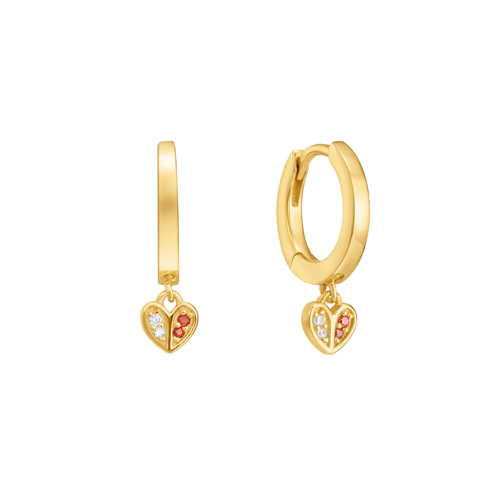 Egeria | Lily Earrings | White & Garnet CZ | 14K Gold Plated 925 Silver