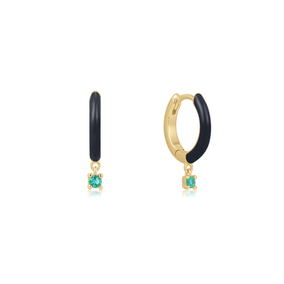 Cardea | Matsutake Earrings | 925 Silver | Black Enamel & Emerald CZ | 14K Gold Plated