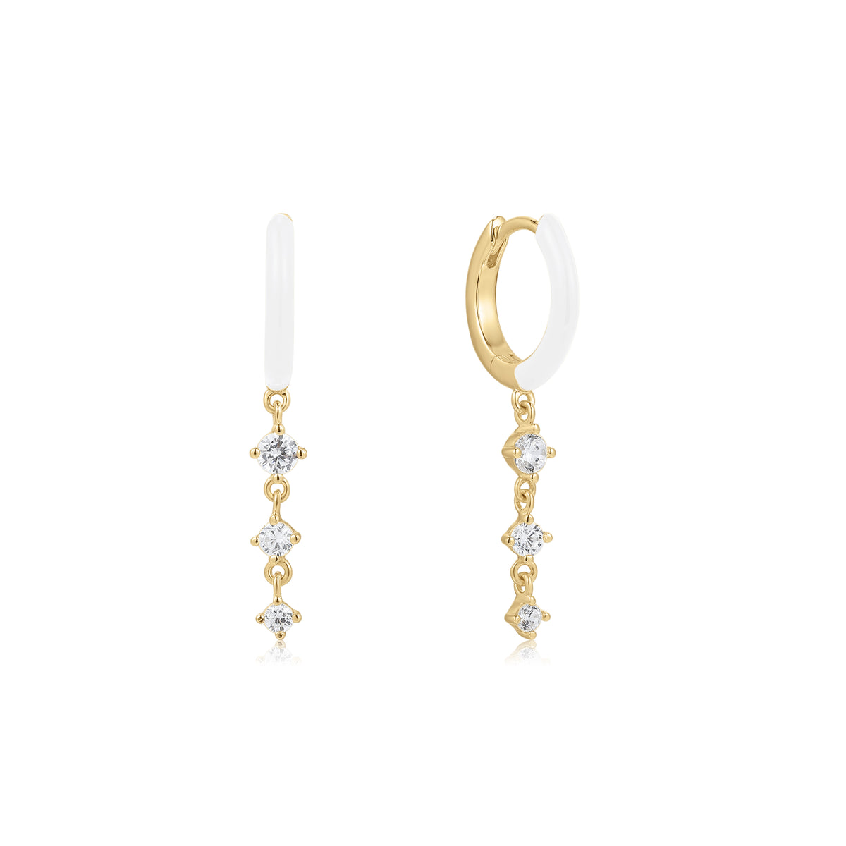 Cardea | Chanterelle Earrings | 925 Silver | White Enamel & White CZ | 14K Gold Plated