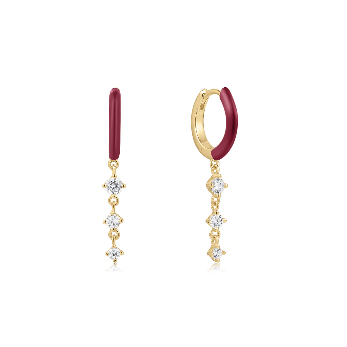 Cardea | Chanterelle Earrings | 925 Silver | Dark Red Enamel & White CZ | 14K Gold Plated