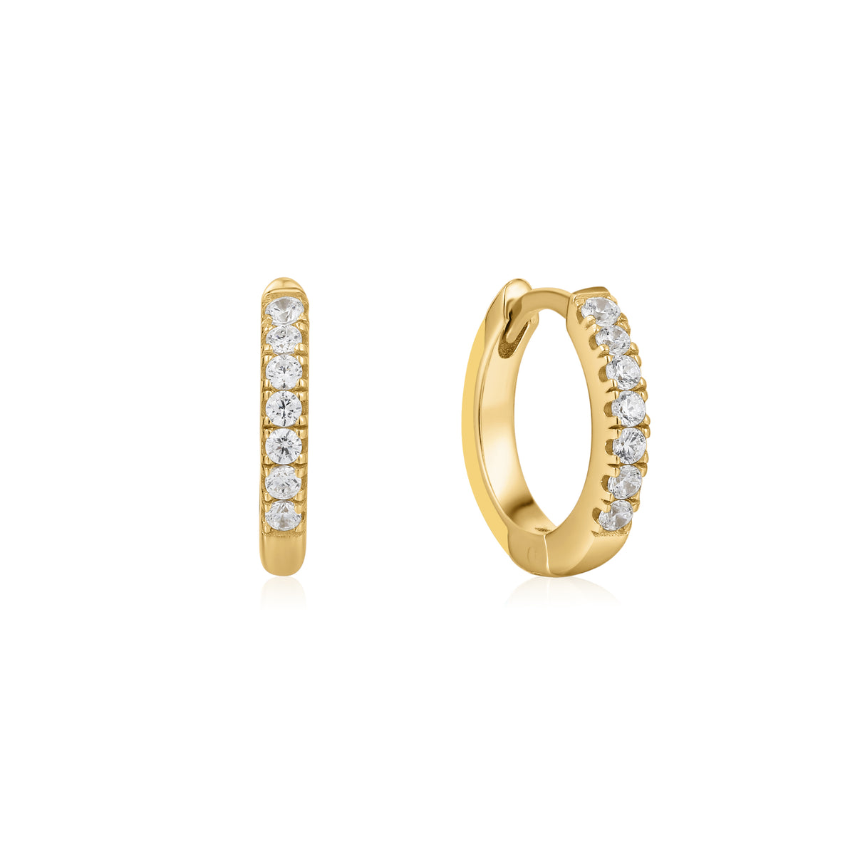 Cardea | Portobello Earrings | 925 Silver | Yellow Enamel & White CZ | 14K Gold Plated
