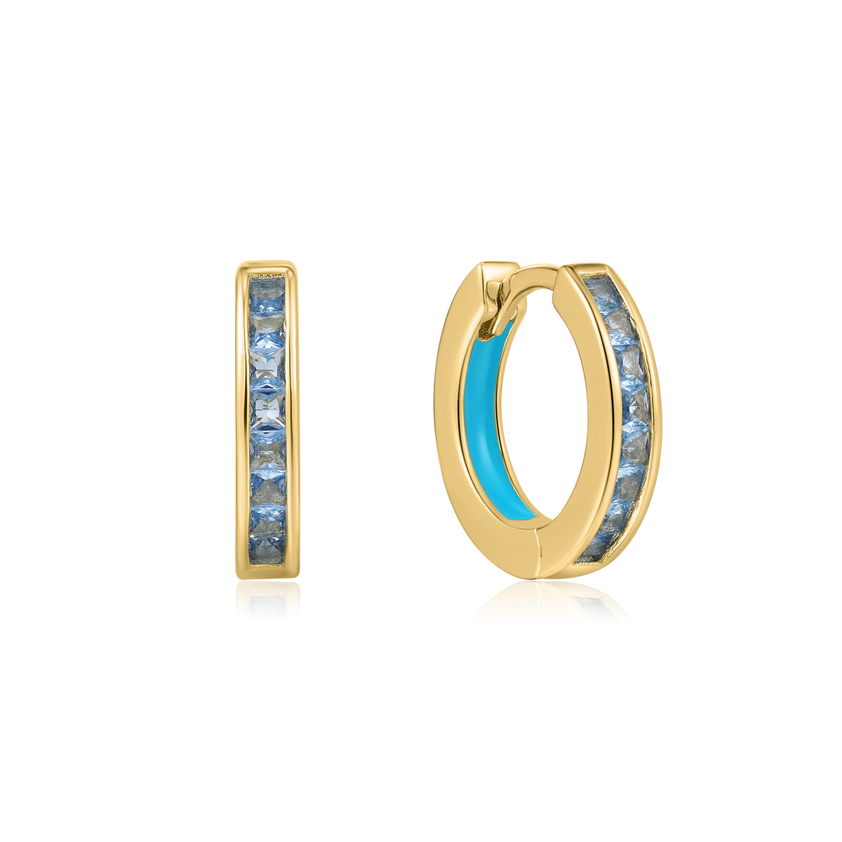 Cardea | Cremini Earrings | 925 Silver | Blue Enamel & Blue CZ | 14K Gold Plated