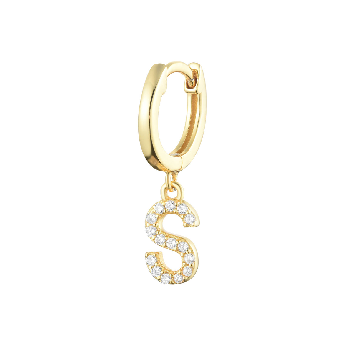 Magna | S Letter Single Earring | White CZ | 18K Gold Plated 925 Silver