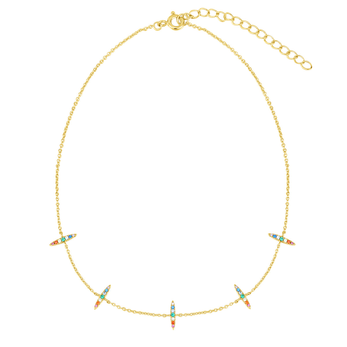 Spirito Rosa X Queen Dina Summer | Agnes Necklace | 925 Silver | Multicolor CZ | 14K Gold Plated
