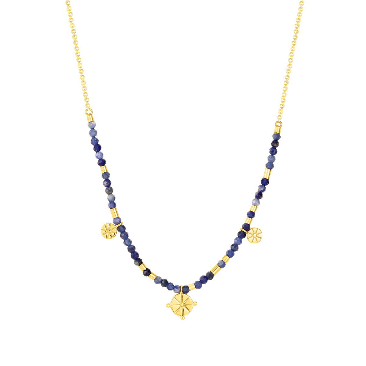 Spirito Rosa X Queen Dina Summer| River Necklace | 925 Silver | Blue-Vein Stone | 14K Gold Plated