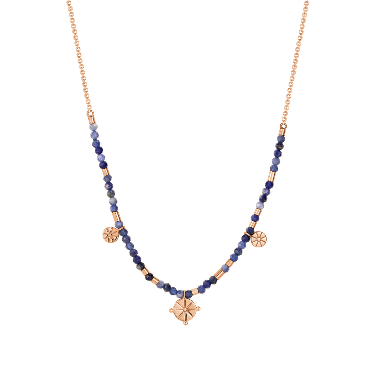 Spirito Rosa X Queen Dina Summer| River Necklace | 925 Silver | Blue-Vein Stone | Rose Gold Plated