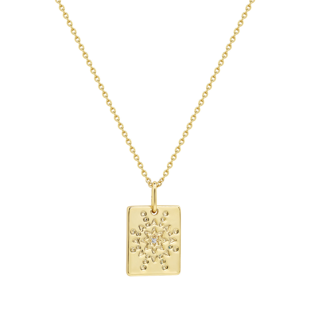 Wish Pendants | Courage & Growth Pendant | White CZ | 14K Gold Plated 925 Silver
