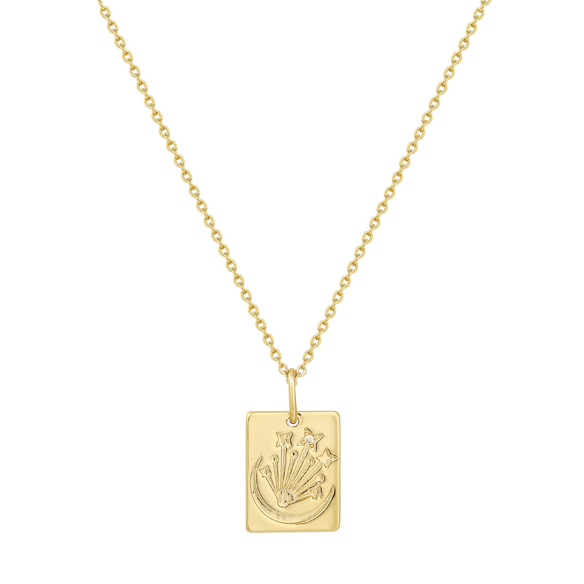 Wish Pendants | Mystery, Energy & Peace Pendant | White CZ | 14K Gold Plated 925 Silver