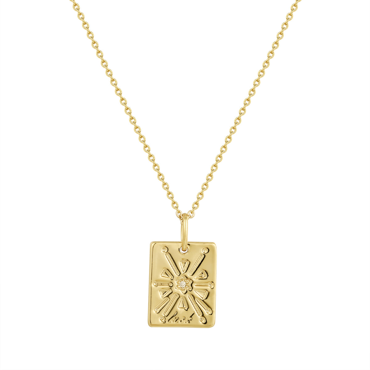 Wish Pendants | Luck Pendant | White CZ | 14K Gold Plated 925 Silver
