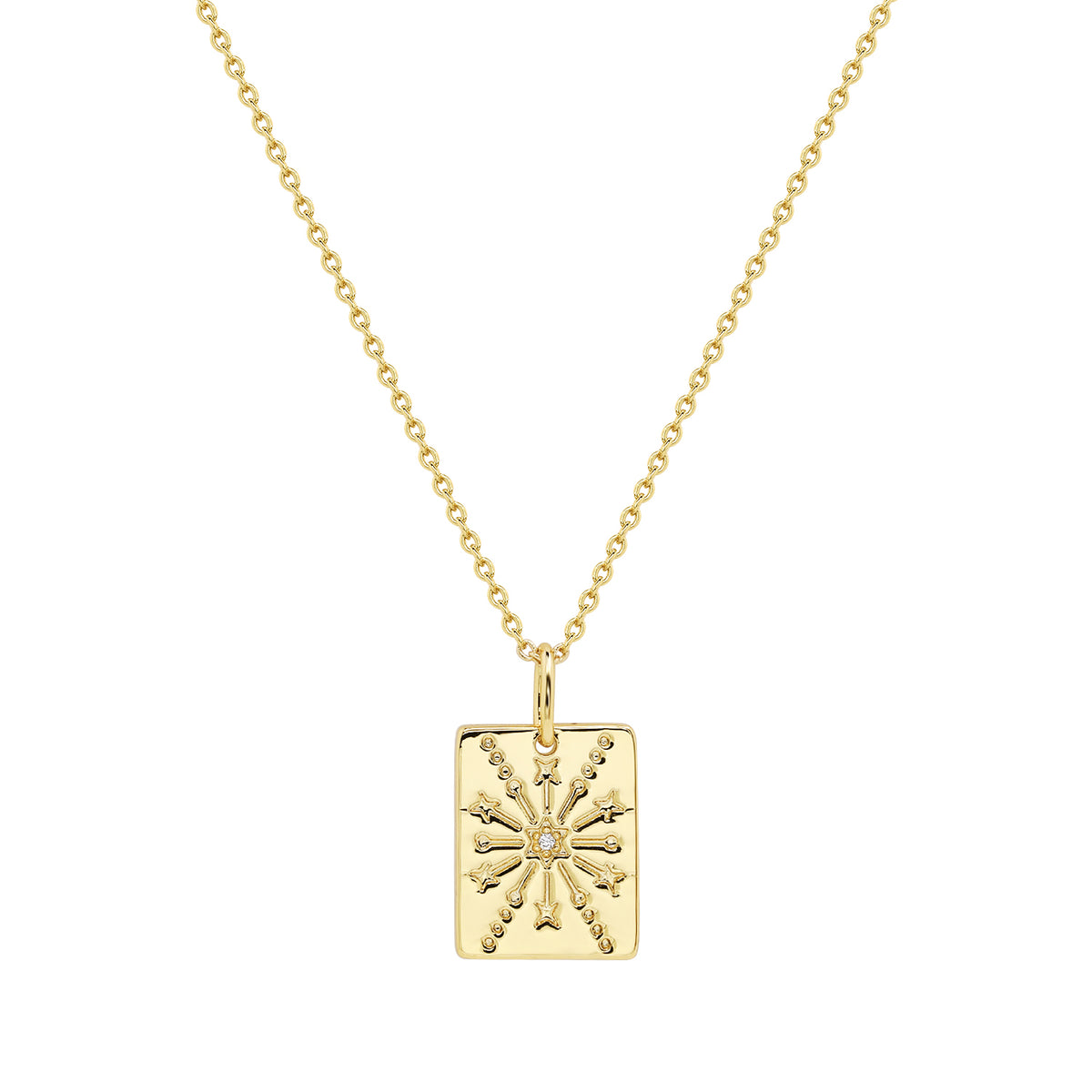 Wish Pendants | Protection & Health Pendant | White CZ | 14K Gold Plated 925 Silver
