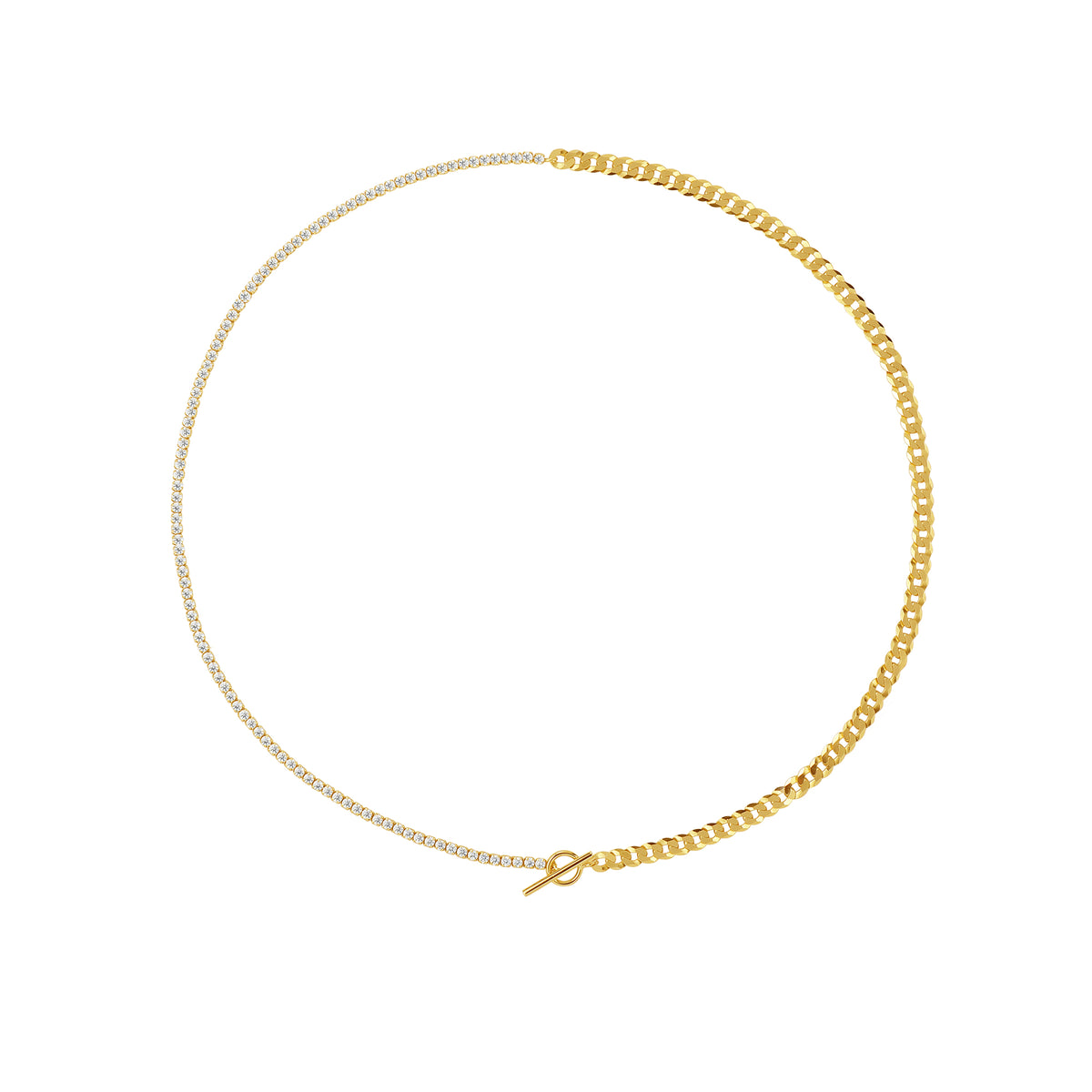 Egeria | Rose Necklace | White CZ | 14K Gold Plated 925 Silver
