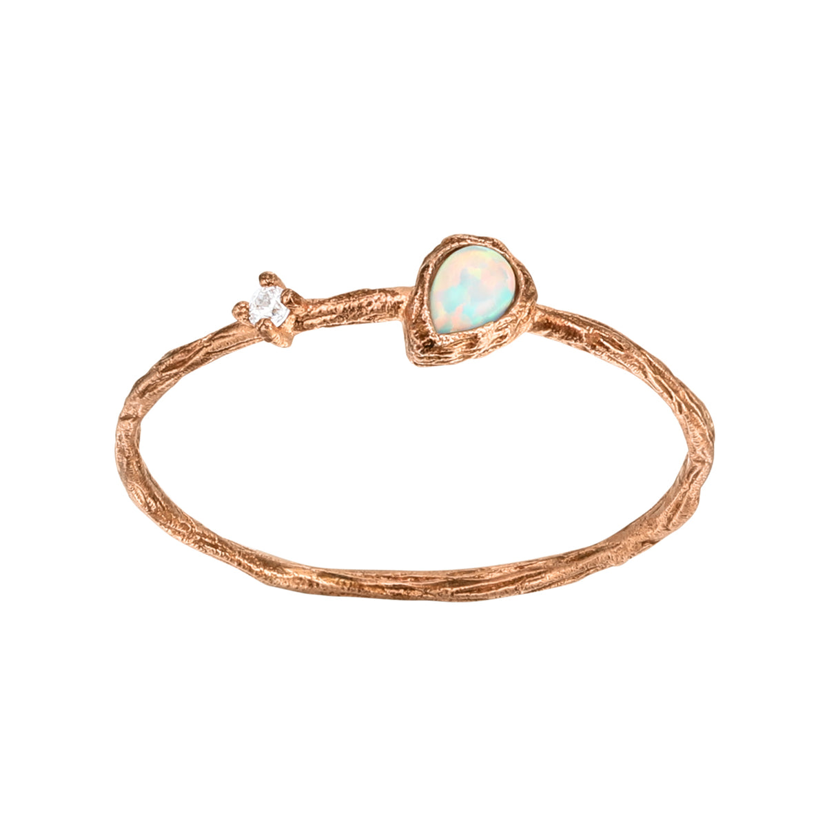 Spirito Rosa X Queen Dina Summer | Julio Ring | 925 Silver | White CZ & S Opal | Rose Gold Plated