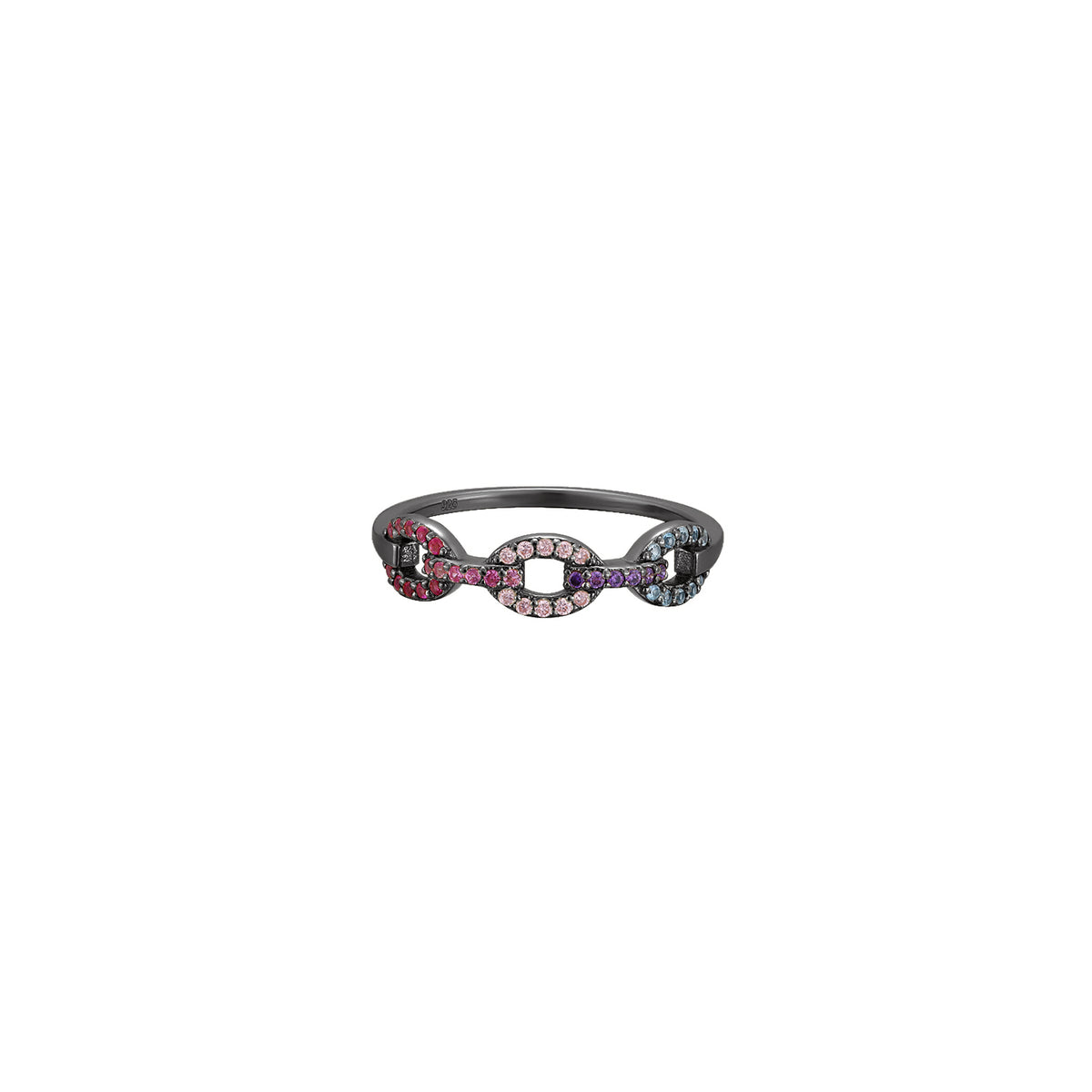 Egeria | Orchid Ring | Multicolour | Black Rhodium Plated 925 Silver