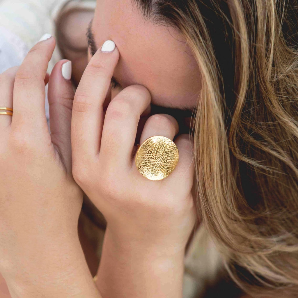 Decima - Stamp Ring Stainless Steel Ion Gold Plating