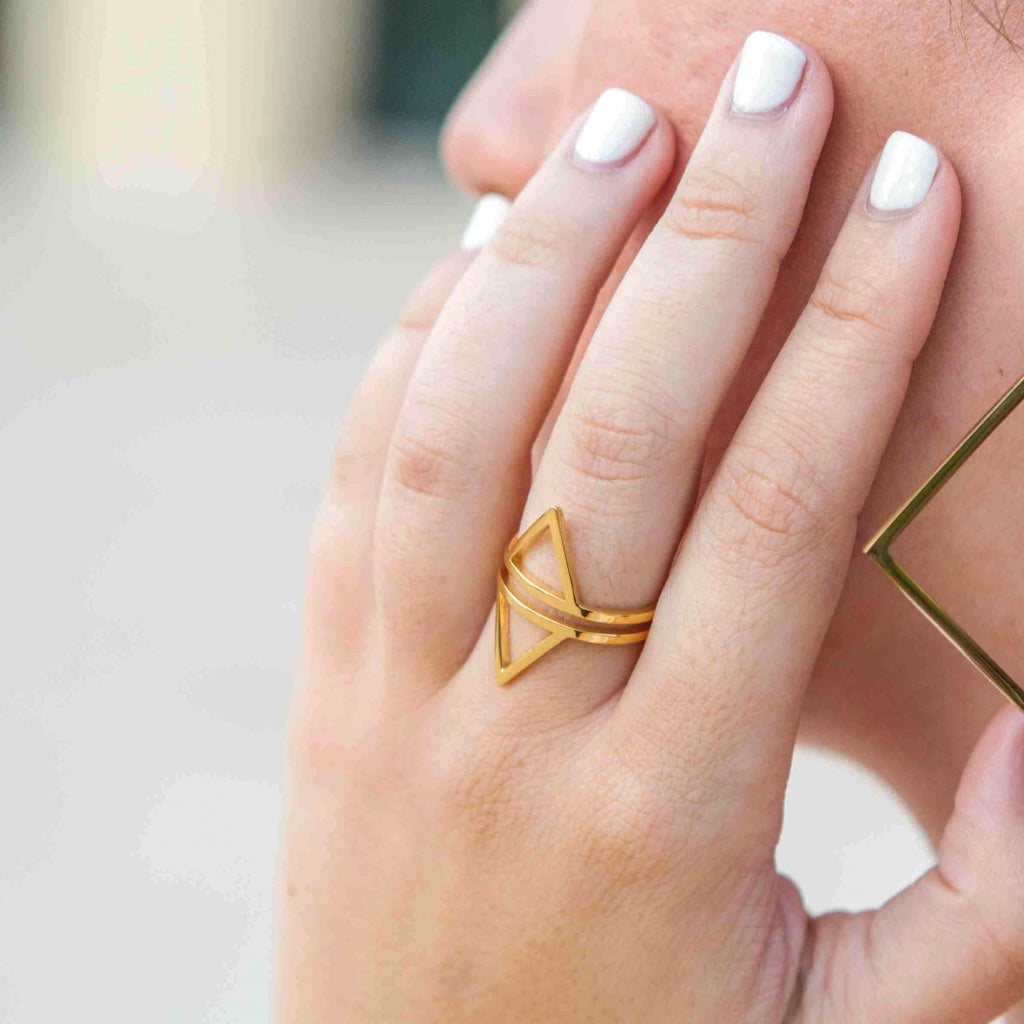 Decima - Pyramid Ring Stainless Steel Ion Gold Plating