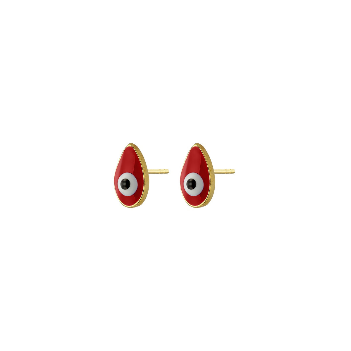 MATI | Drop Studs | Red Enamel | 18K Gold Plated 925 Silver