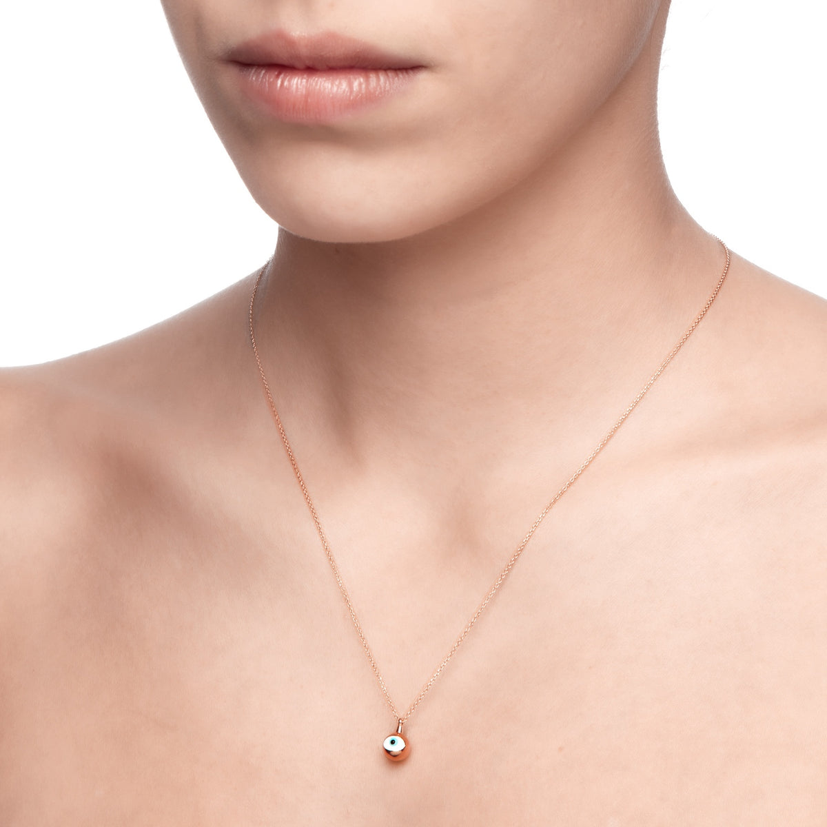 MATI | Sphere Necklace | White Enamel | Rose Gold Plated 925 Silver
