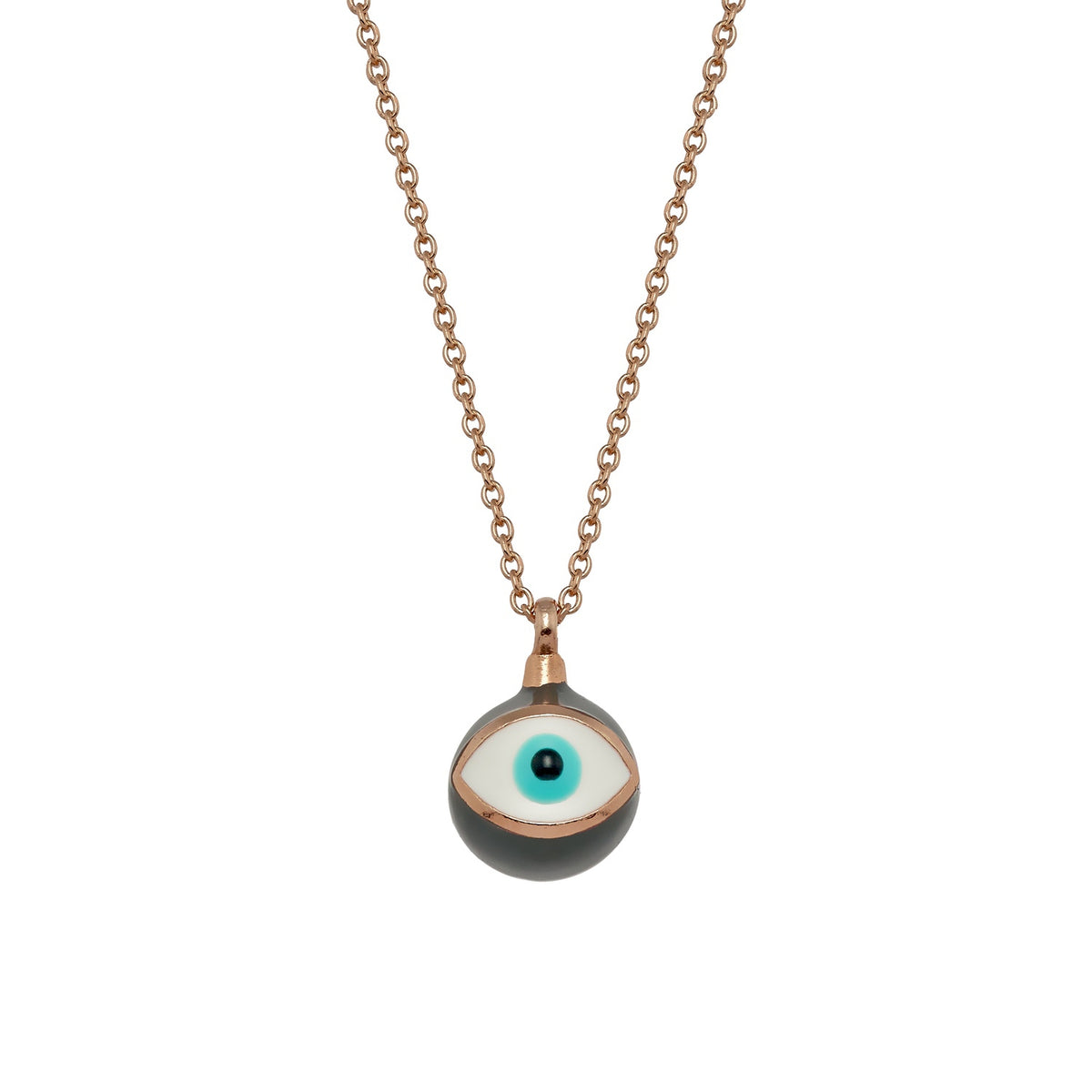 MATI | Sphere Necklace | Grey Enamel | Rose 18K Gold Plated 925 Silver