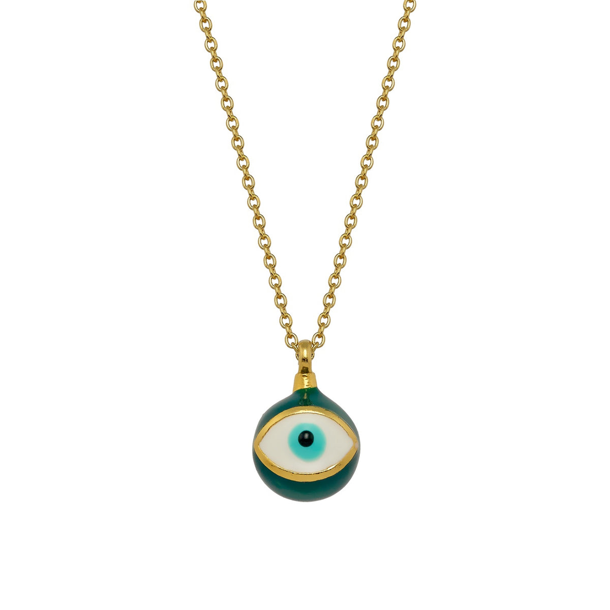 MATI | Sphere Necklace | Green Enamel | 18K Gold Plated 925 Silver