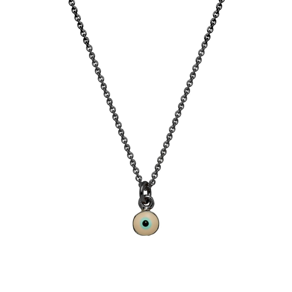 MATI | Tiny Necklace | Nude Enamel | Black Rhodium Plated 925 Silver