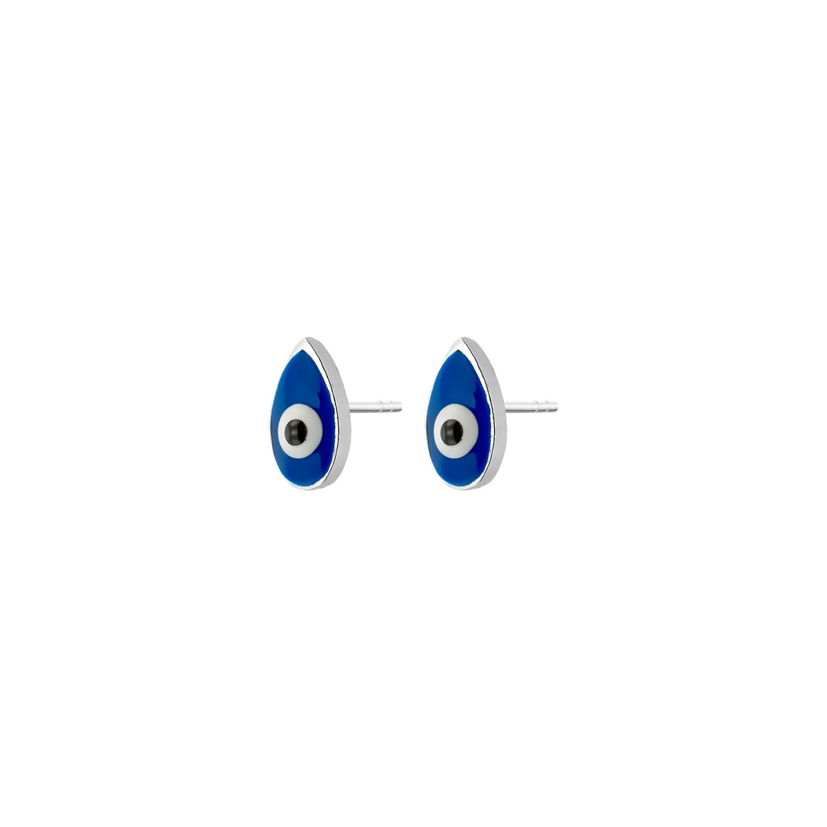 MATI | Drop Studs | Blue Enamel | White Rhodium Plated 925 Silver