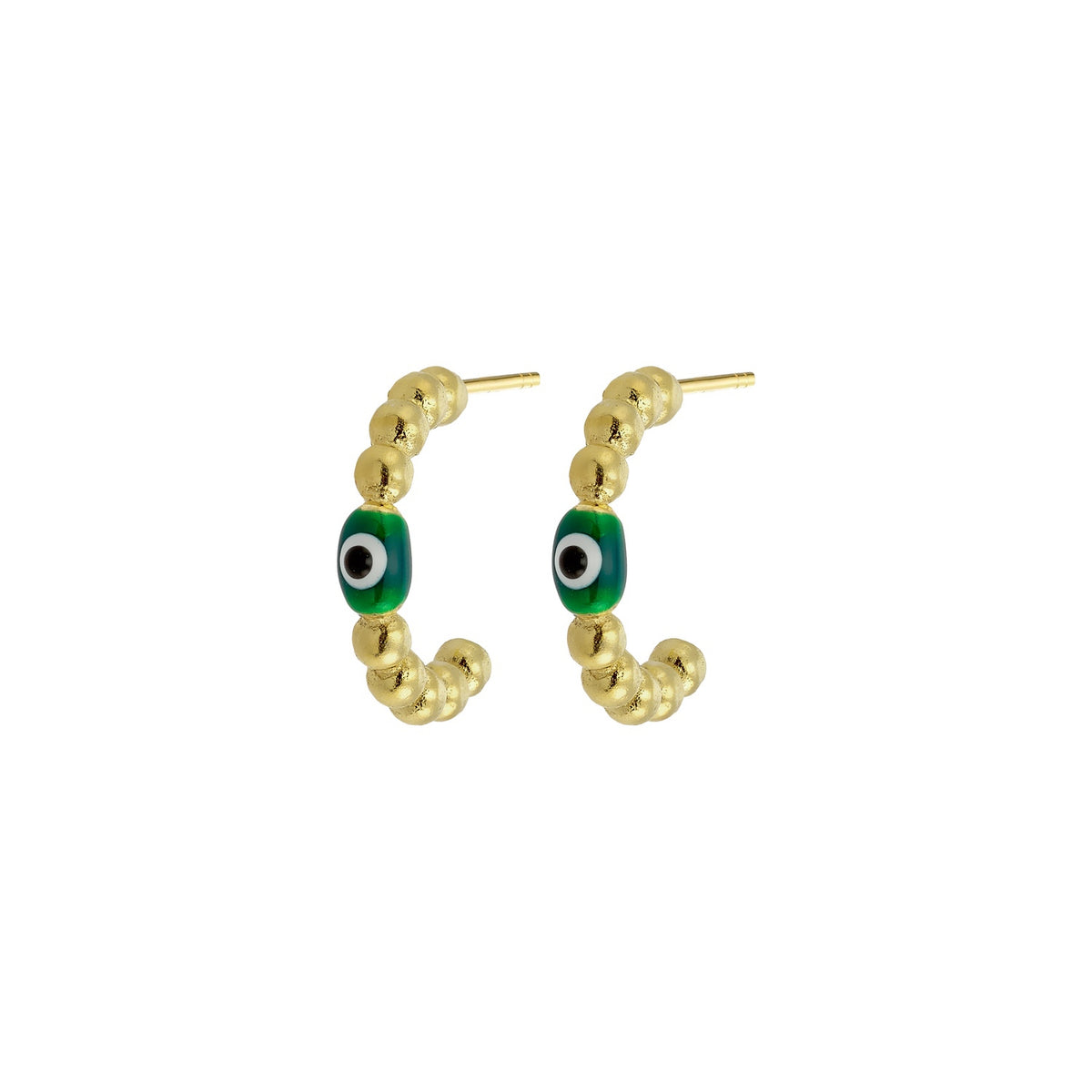 MATI | Bubble Hoops | Green Enamel | 18K Gold Plated 925 Silver