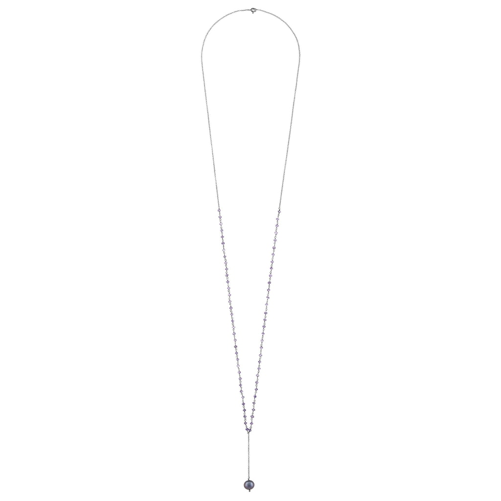 Argentum Extremis Necklace Drop - Amethyst & Black Pearl Rhodium Plated Silver