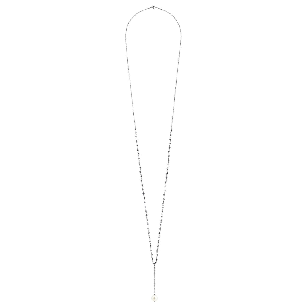 Argentum Extremis Necklace Drop - Black Spinel & White Pearl Rhodium Plated Silver