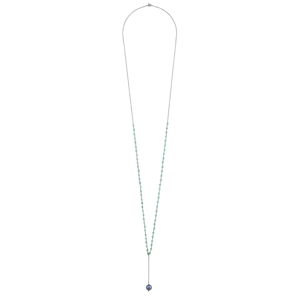 Argentum Extremis Necklace Drop - Green Onyx & Black Pearl Rhodium Plated Silver