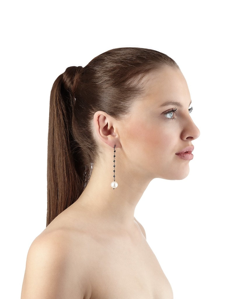 Argentum Extremis Single Drop Earring - Black Spinel & White Pearl Rhodium Plated Silver