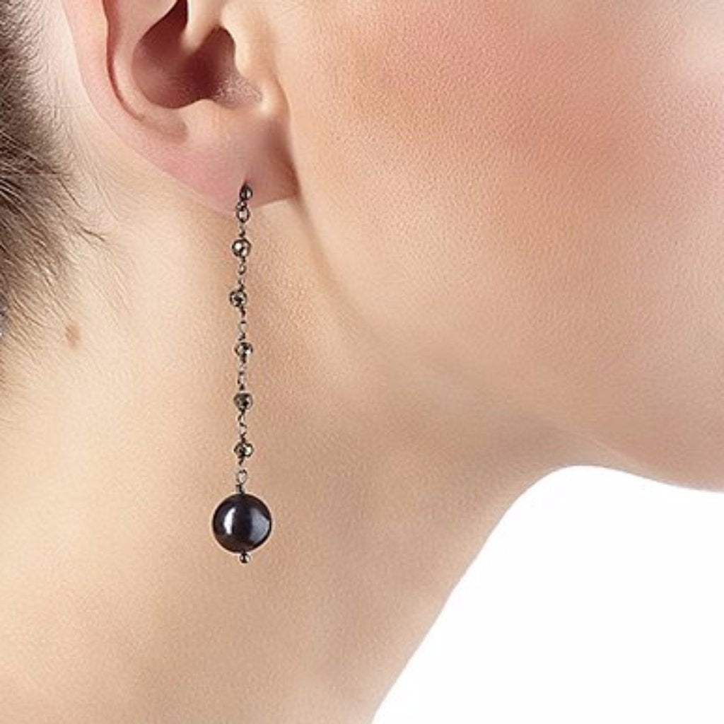 Argentum Extremis Single Drop Earring - Pyrite & Black Pearl - Black Rhodium Plated Silver - Spirito Rosa | Βραβευμένα Κοσμήματα σε Απίστευτες Τιμές