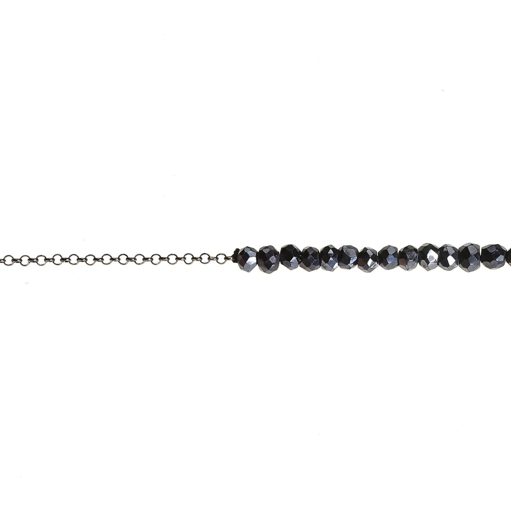 Argentum Tantum Chain Long Necklace - Black Spinel Rhodium Plated