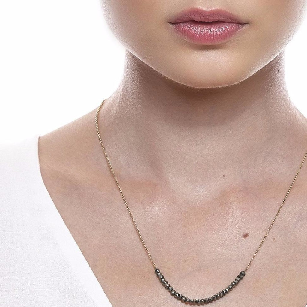 Argentum Tantum Chain Short Necklace - Pyrite - Gold Plated Silver - Spirito Rosa | Βραβευμένα Κοσμήματα σε Απίστευτες Τιμές