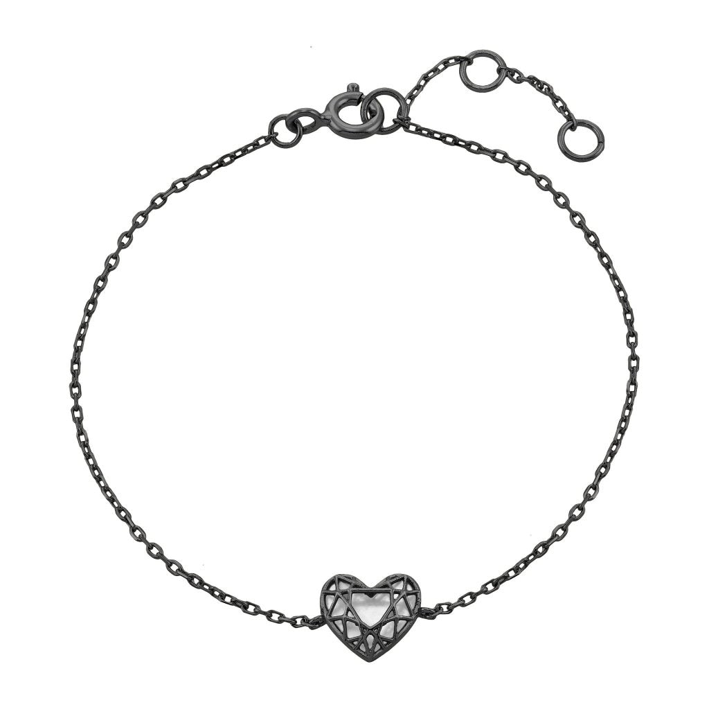 Aurora 3D Heart Bracelet | Mother of Pearl | Black Rhodium Plated 925 Silver - Spirito Rosa | Βραβευμένα Κοσμήματα σε Απίστευτες Τιμές