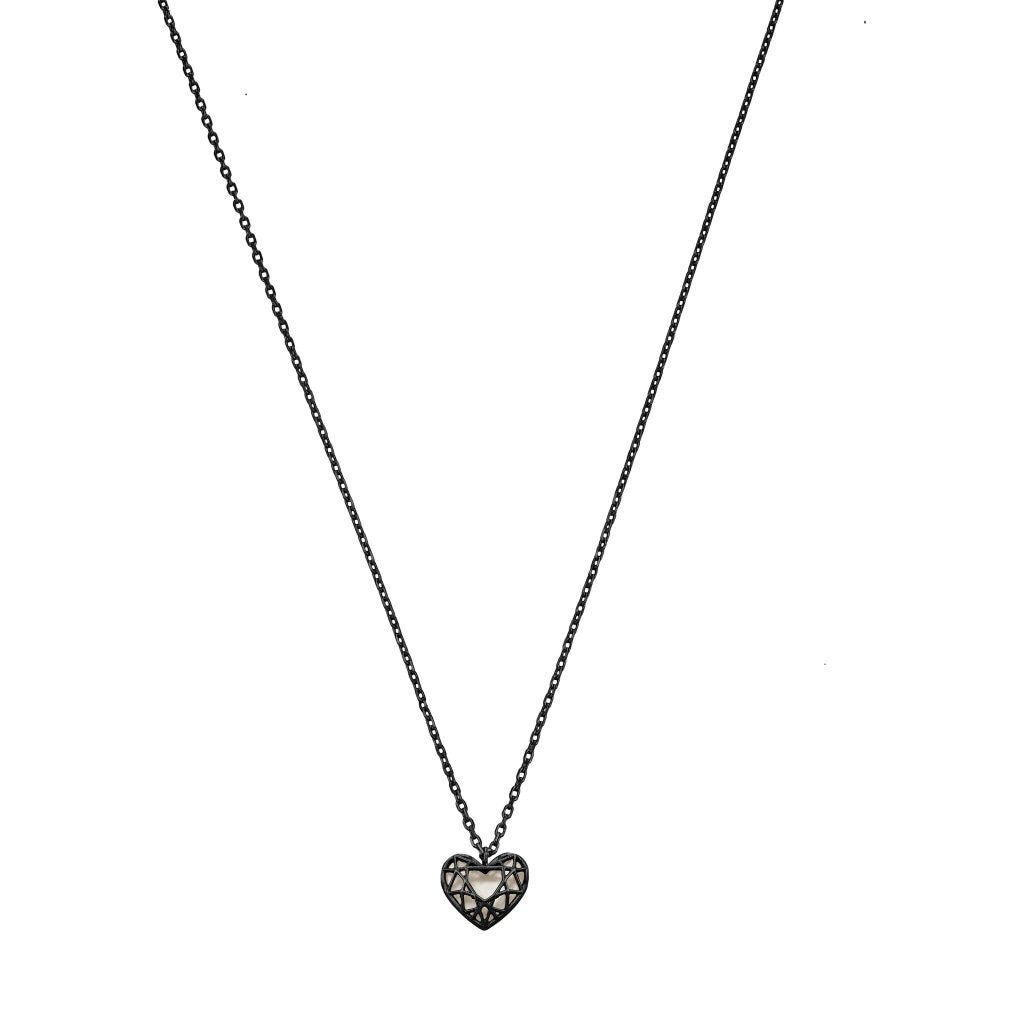 Aurora 3D Heart Necklace | Mother of Pearl | Black Rhodium Plated 925 Silver - Spirito Rosa | Βραβευμένα Κοσμήματα σε Απίστευτες Τιμές