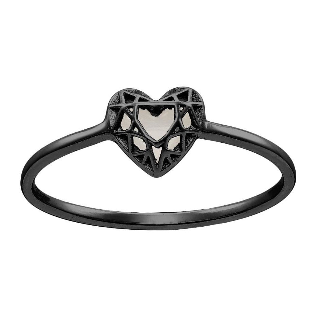 Aurora 3D Heart Ring | Mother of Pearl | Black Rhodium Plated 925 Silver - Spirito Rosa | Βραβευμένα Κοσμήματα σε Απίστευτες Τιμές