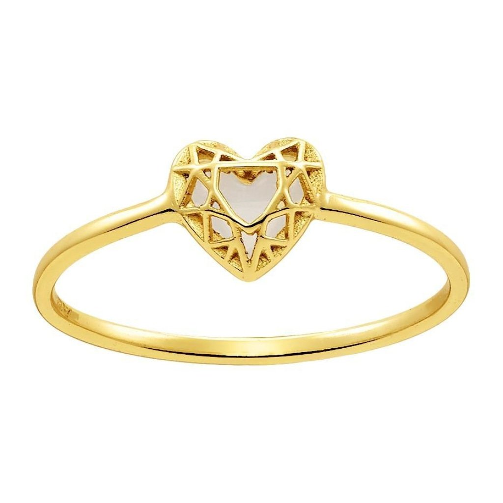 Aurora 3D Heart Ring | Mother of Pearl | Gold Plated 925 Silver - Spirito Rosa | Βραβευμένα Κοσμήματα σε Απίστευτες Τιμές