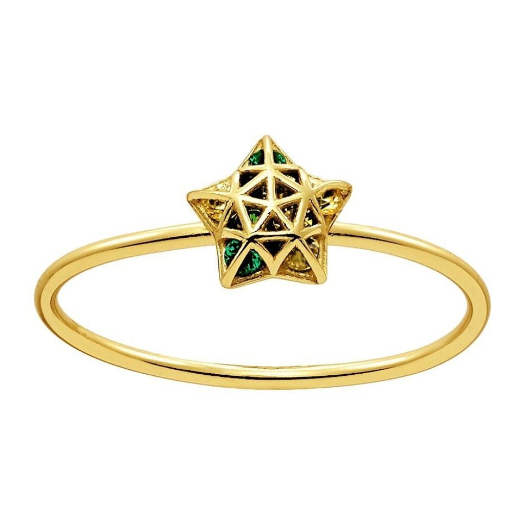 Aurora 3D Star Ring | Emerald CZ | Gold Plated 925 Silver - Spirito Rosa | Βραβευμένα Κοσμήματα σε Απίστευτες Τιμές