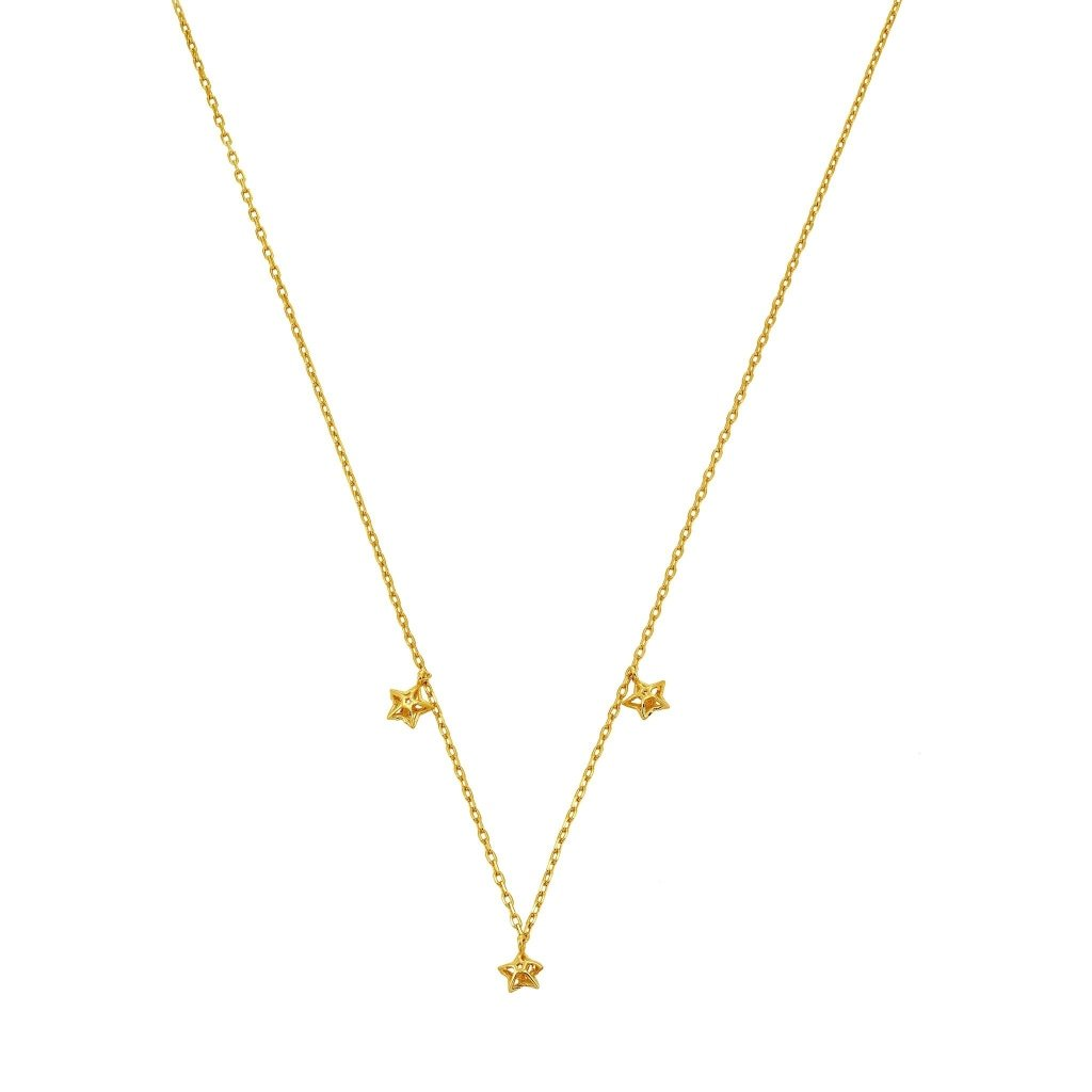 Aurora 3D Triple Star Necklace | Gold Plated 925 Silver - Spirito Rosa | Βραβευμένα Κοσμήματα σε Απίστευτες Τιμές