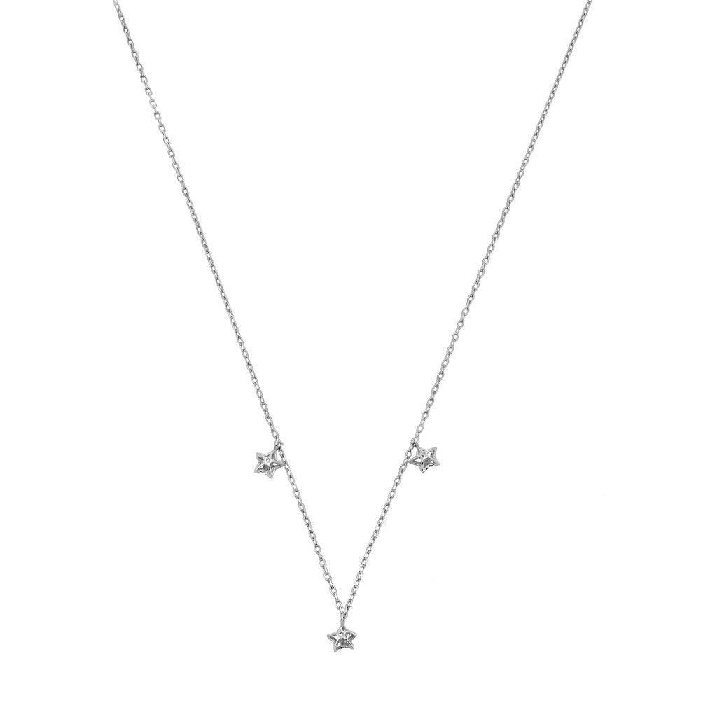 Aurora 3D Triple Star Necklace | White Rhodium Plated 925 Silver - Spirito Rosa | Βραβευμένα Κοσμήματα σε Απίστευτες Τιμές